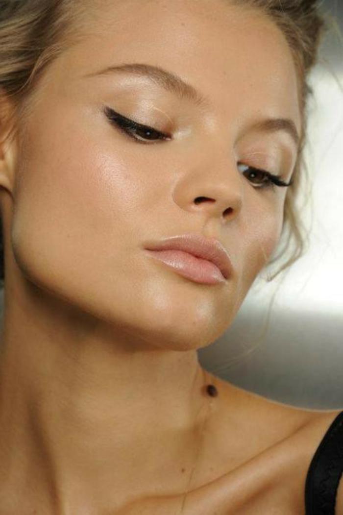 natürliche schminke schminktipps ideen für dezentes makeup glanz glänzende frau lidstrich
