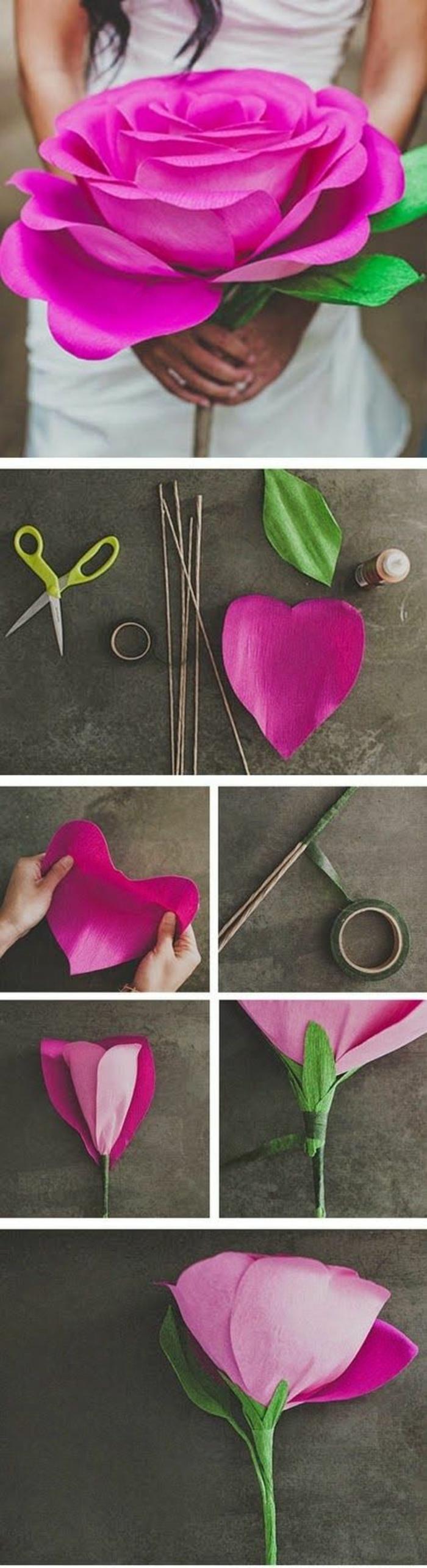 papierblumen basteln, große rose aus papier, schere, kleber