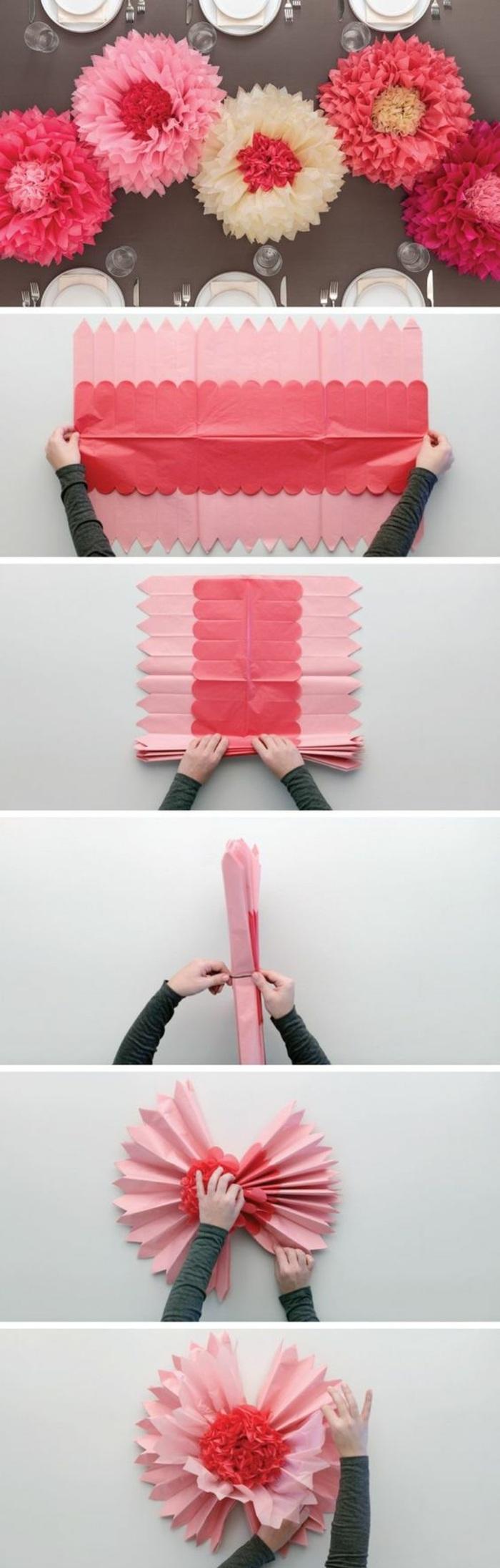 wanddeko selber machen, rosa blumen aus papier