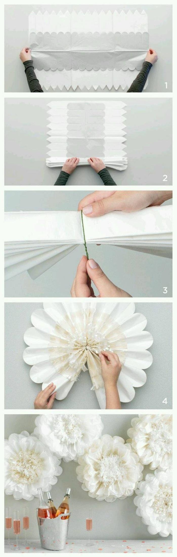 wanddekoration, große blumen aus weißem papier