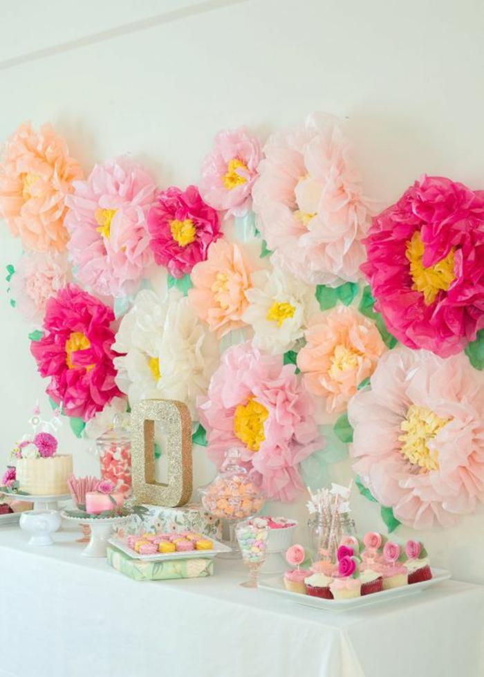 wanddeko, partydeko, frühlingsdeko, papierblumen, tisch, nachtisch, muffins