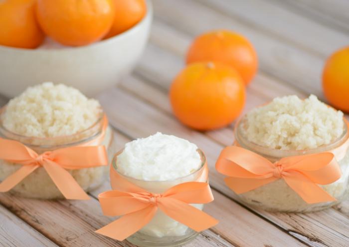 diy körperpeeling mit orangen und zucker, orange schleifen