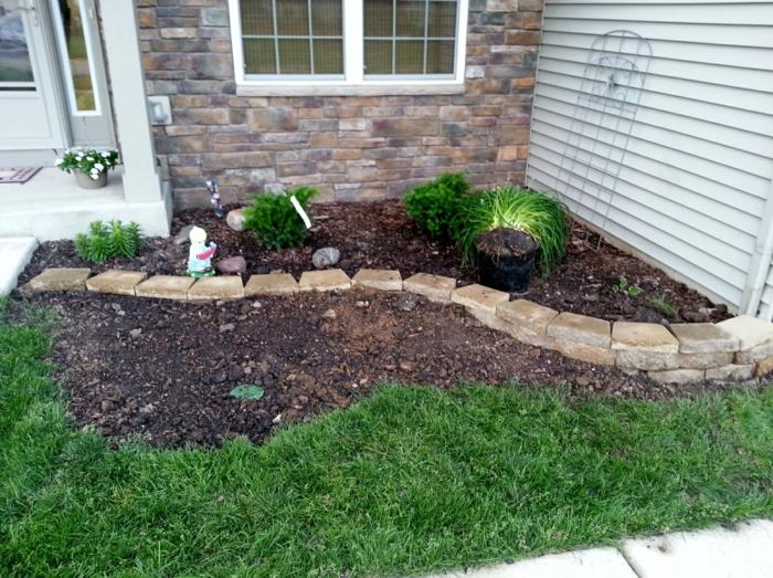 kleinen Garten geschmackvoll gestalten Grass und Steinen - Vorgartengestaltung Beispiele