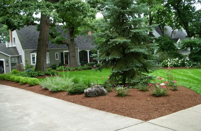 Vorgartengestaltung mit einem Tannenbaum, ein Stein und große Bäume