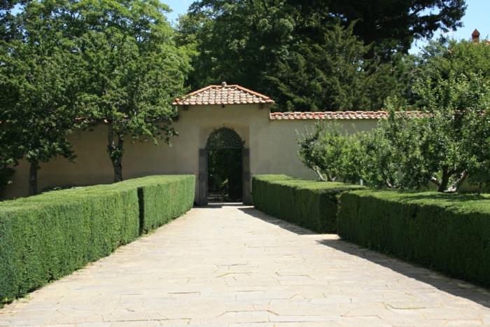 großen Weg mit Hecke umgeben, hoher Zaun und Bäume - Vorgartengestaltung