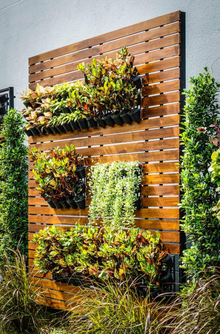eine grüne Wand auf Holz gepflanzt - ein so schöner vertikaler Garten