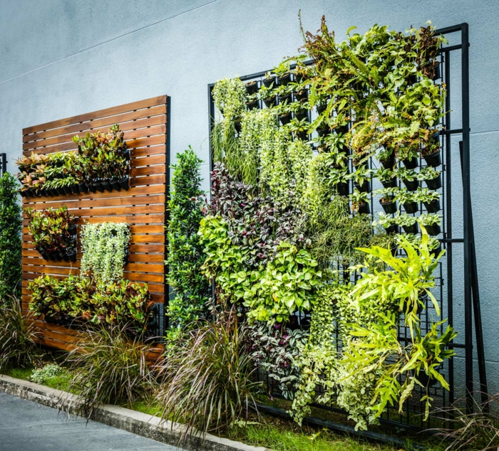 ein anderes Modell von vertikalem Garten - mit hängenden Blumentöpfen