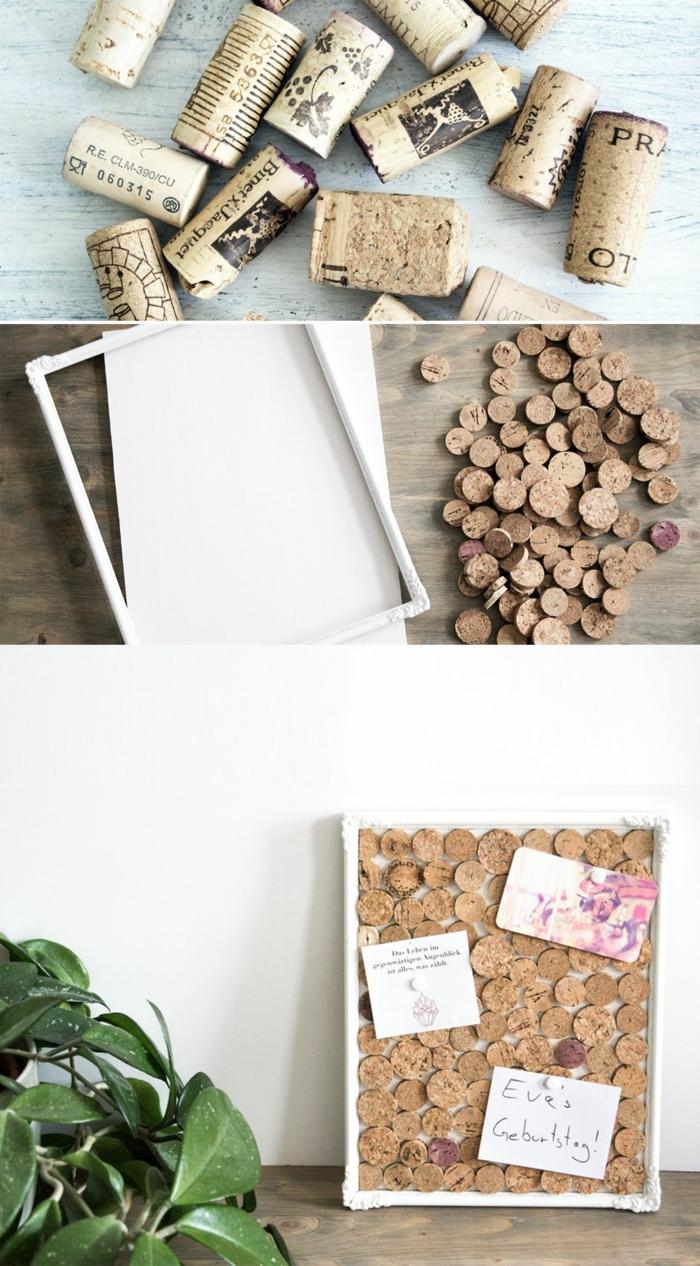 Upcycling Ideen einfach, Pinnwand aus alte Korken, Anleitung zur Anfertigung, do it yourself Projekt