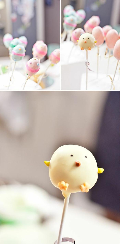 kuchenbällchen am stiel - kleines küken und eier