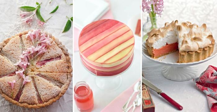 Rhabarber Pie mit essbaren Blumen, Rhabarber Torte, Rhabarber Limonade, Rhabarberkuchen mit Schaumgebäck
