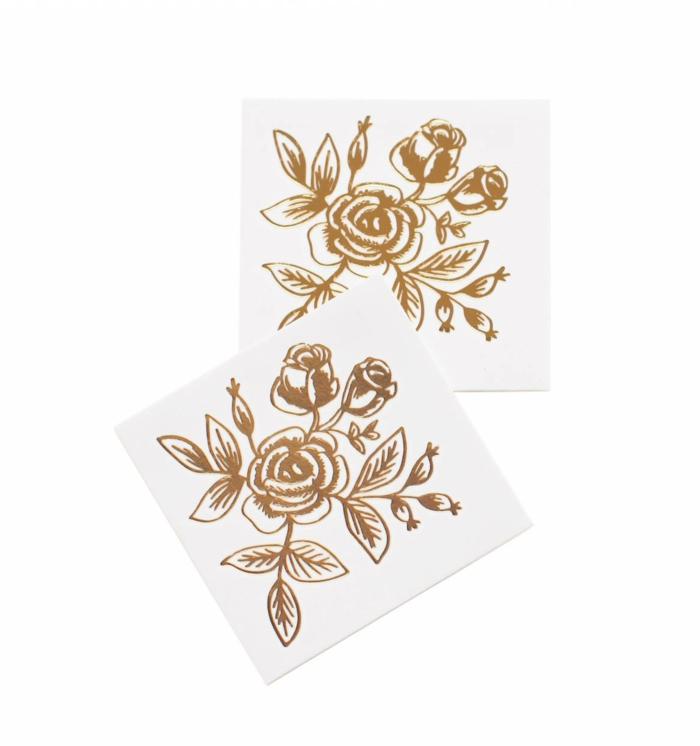 tattoo vorlagen frauen bunte muster goldene farbe ist besonders beliebt goldene rosen tätowieren