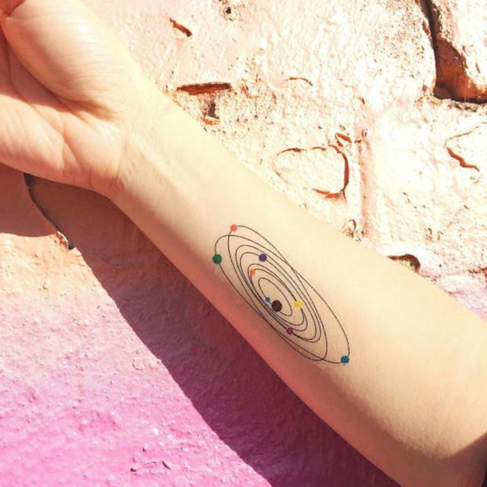 tattoo motive frau kosmos sonnensystem planeten in verschiedener farbe bezeichnen arm tattoo