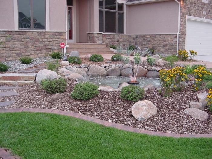 Wasser und Led Lichte für ausgefallene Vorgartengestaltung Beispiele