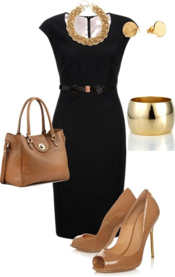 Schwarzes kleid goldener schmuck