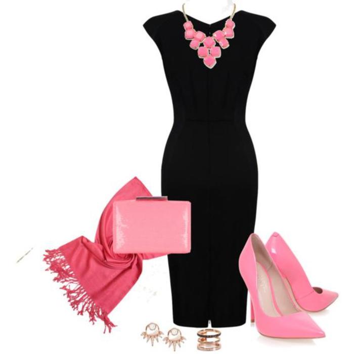 schwarzes kleid, kombination mit rosa, pumps und clutch, schal und goldener schmuck