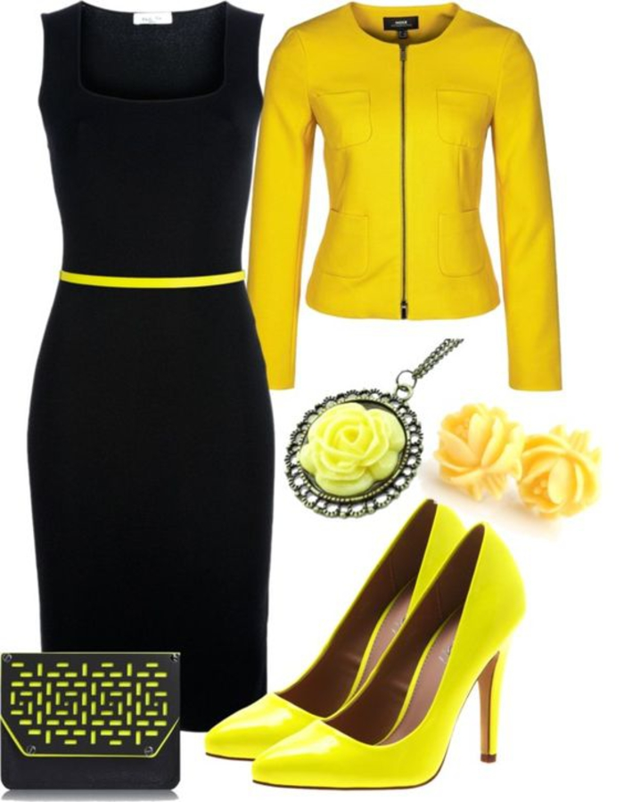 schwarzes kleid mit gelb kombinieren, pumps, kette und ohrringe in gelb