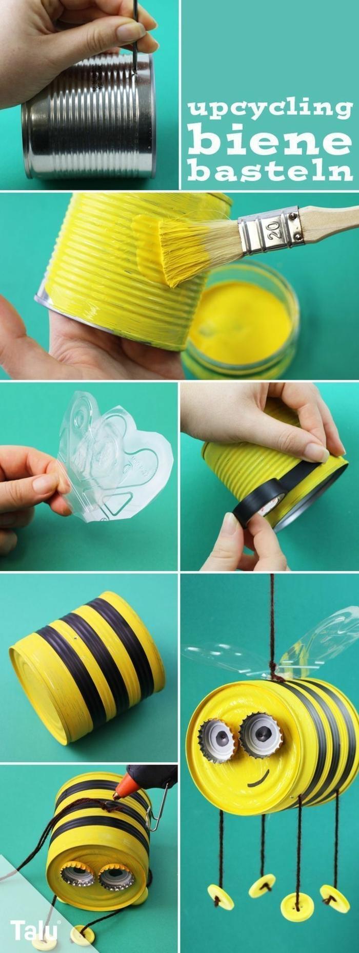 Gelbe Biene aus alte Blechdose basteln, Anweisung zum Selbermachen, Upcycling Projekte mit Kindern