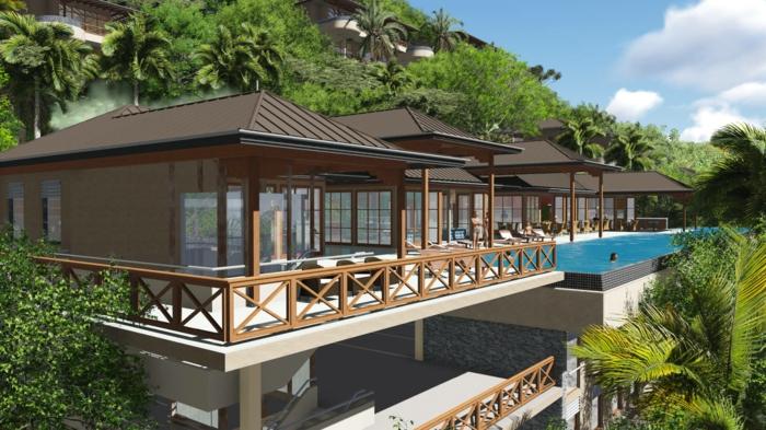 mehrstöckige gebäuden auf den seychellen insel architektur tropische bauart haus mit pool