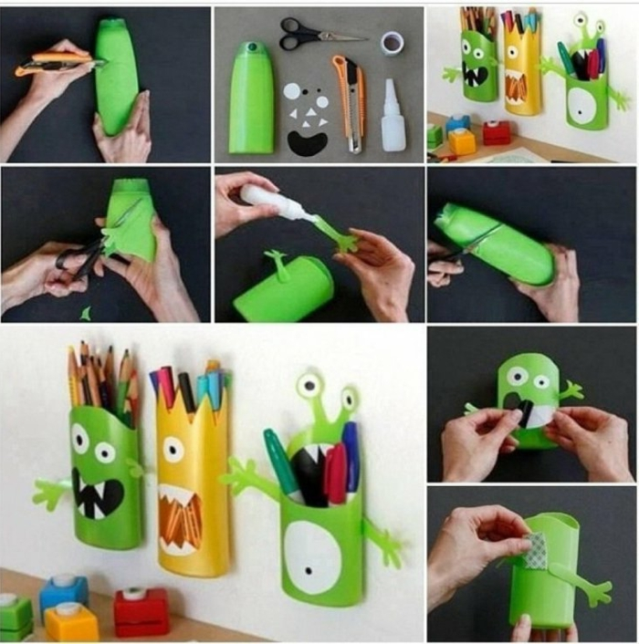 DIY Anleitung, Monster in verschiedene Farben basteln aus Shampoo Flaschen, Upcycling Projekte mit Kindern