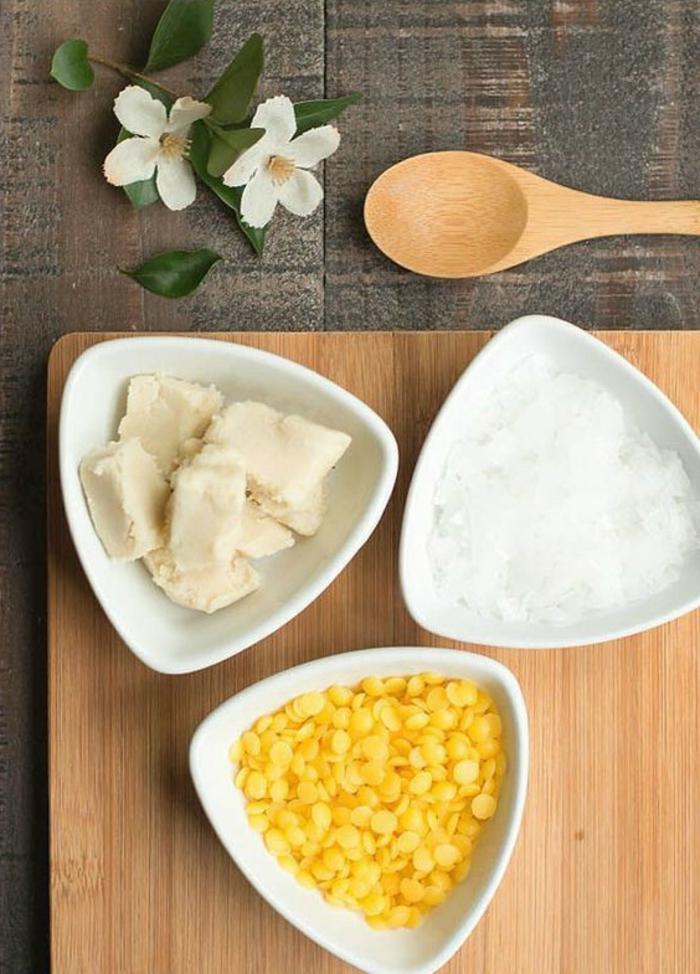 Bodylotion selber machen aus Naturprodukten - Kokosbutter, Bienenwachs, Sheabutter