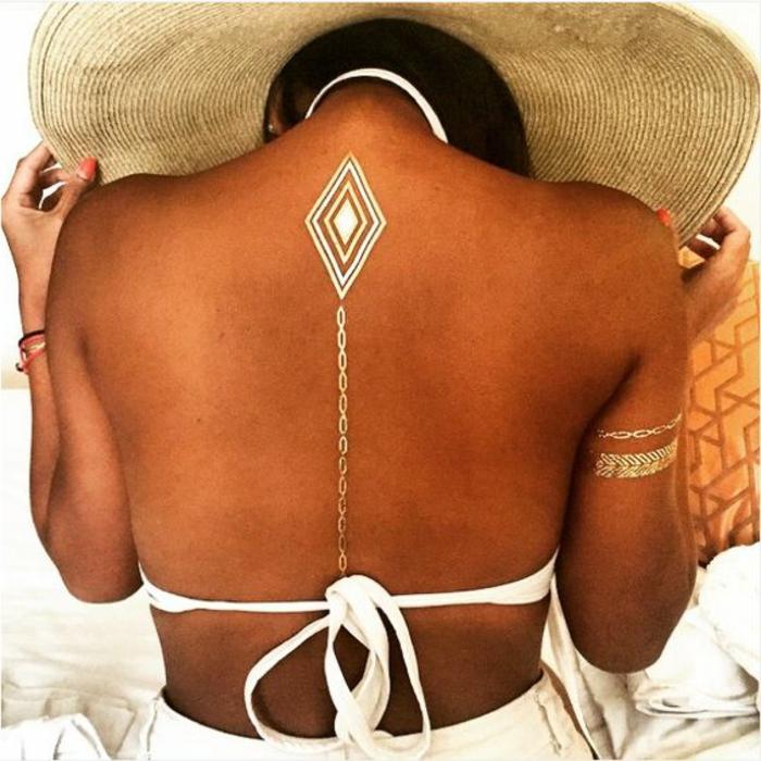 tattoos frau dezentes tattoo auf dem rücken kettenförmige linie weißer badeanzug goldene armbänder
