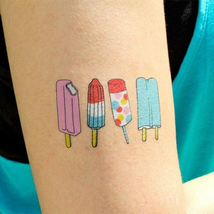 tattoo vorlage vier verschiedene variationen von eis rosa eis gepunktetes modell blaue und andere