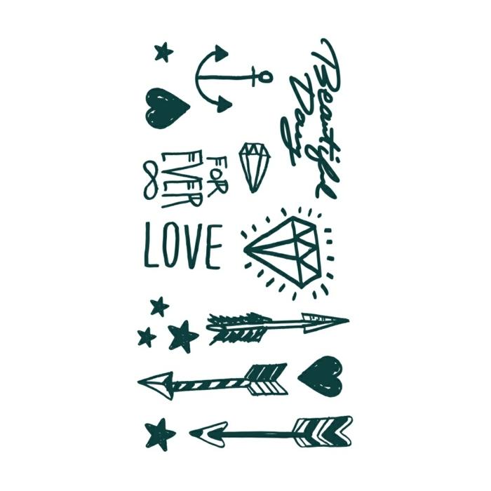 schöne tattoos dezente ideen für kleine tattoos temporär auf den körper stellen liebe anker diamant