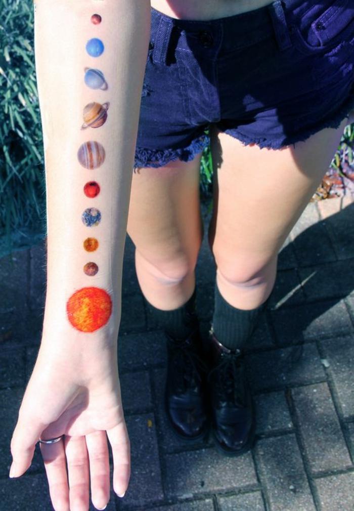 schöne tattoos kosmos sonnensystem alle planeten von unserem system venus mars erde sonne hand