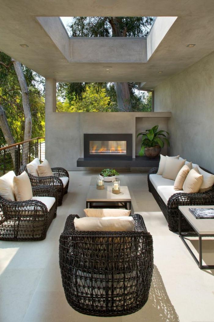 terrassengestaltung idee halbgeschlossene terrasse interessantes design moderne designidee