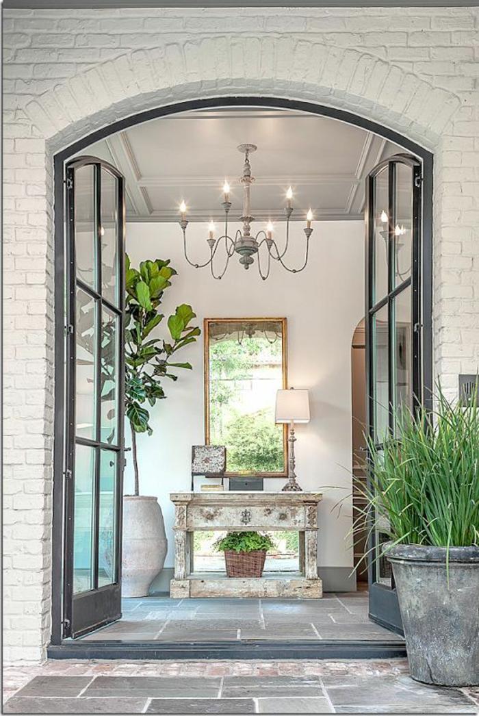 terrassengestaltung ideen zum entnehmen schöne türen aus glas führen zu der terrasse lampe