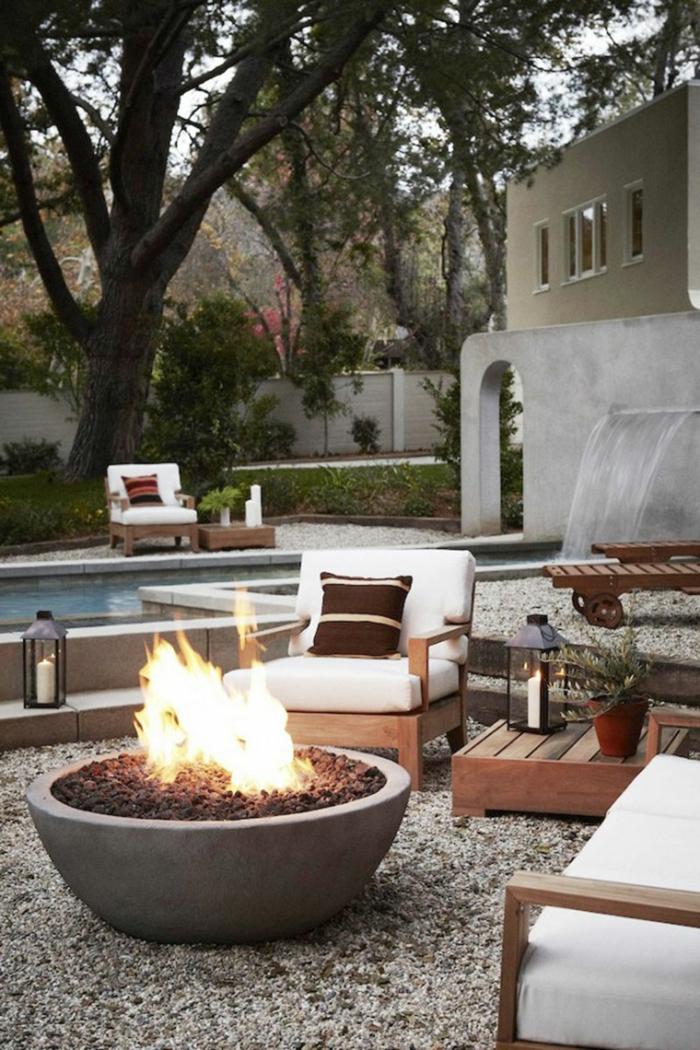terrassengestaltung ideen zur dekoration feuer auf der terrasse machen pool schöne atmosphäre