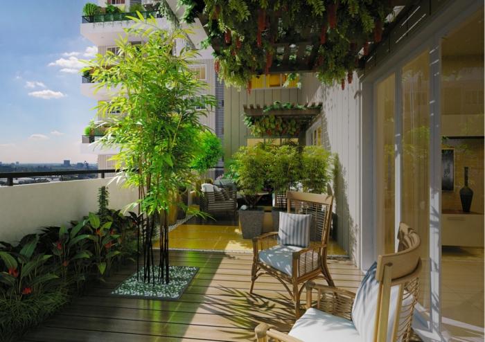 terrassengestaltung bilder schönes foto mit blumen grünen pflanzen stühle mit kissen terrasse