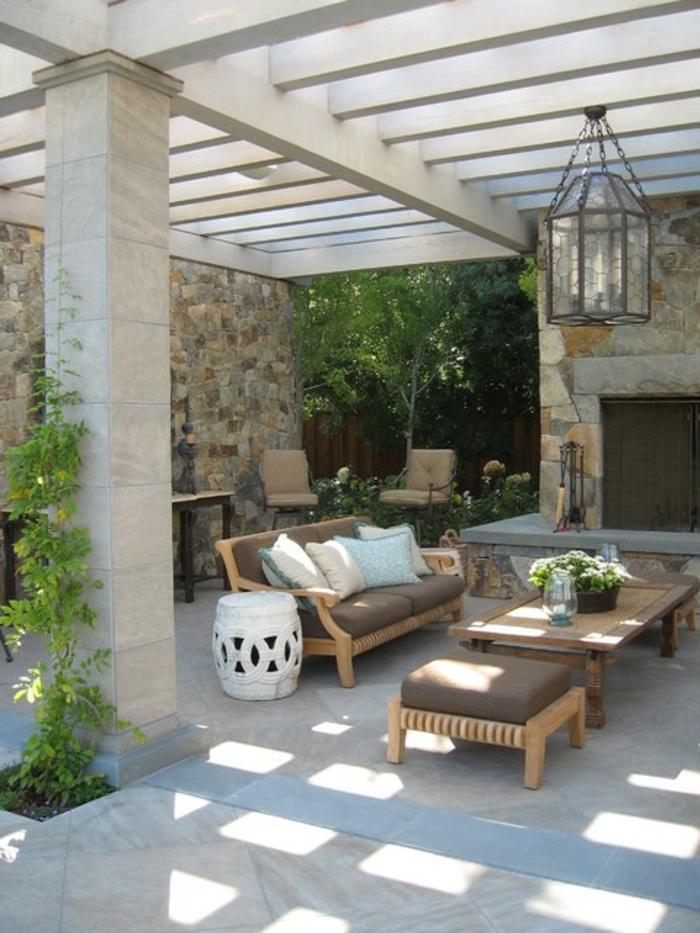 terrassengestaltung ideen bilder steinwände stabile aussicht tolle terrasse mediterranes design deko