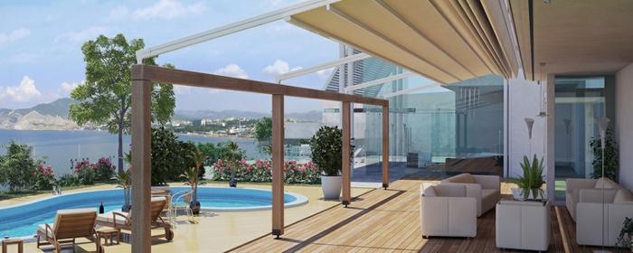 terrassengestaltung ideen bilder einmaliges haus mit terrasse und großem pool in der nähe vom meer