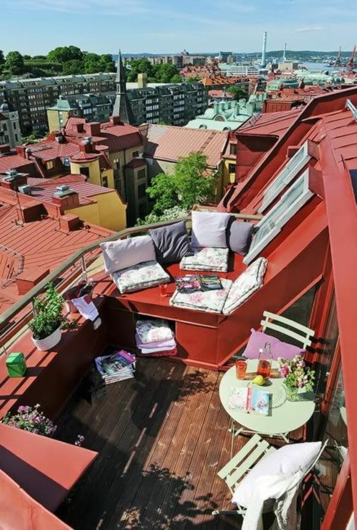 dekoideen terrasse dachterrasse in der stadt schön einrichten und dekorieren kaffee trinken