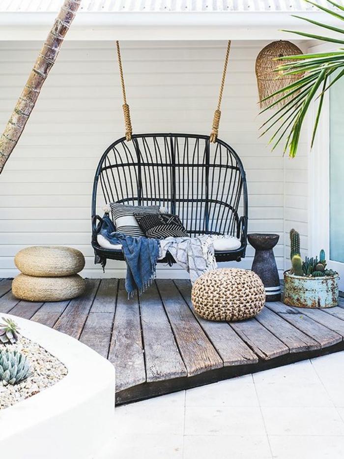 terrassen ideen einmalige vorschläge für schöne terrassengestaltung schaukel auf terrasse deko blau
