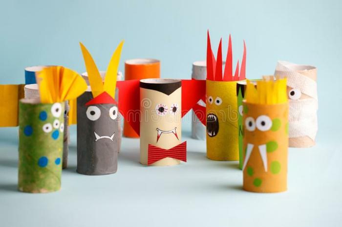 Verschiedenes aus Toilettenpapierrollen basteln, Upcycling Projekte mit Kindern, Halloween Dekoration