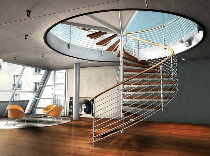 Treppen aus Stahl mit Holzstufen, Wendeltreppen