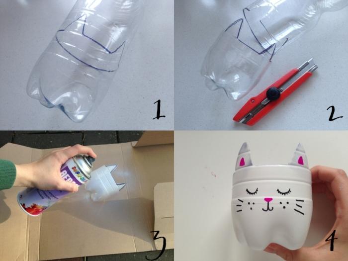 Anleitung zum Selbermachen von einem Blumentopf aus einer Plastikflasche, Upcycling Ideen einfach,