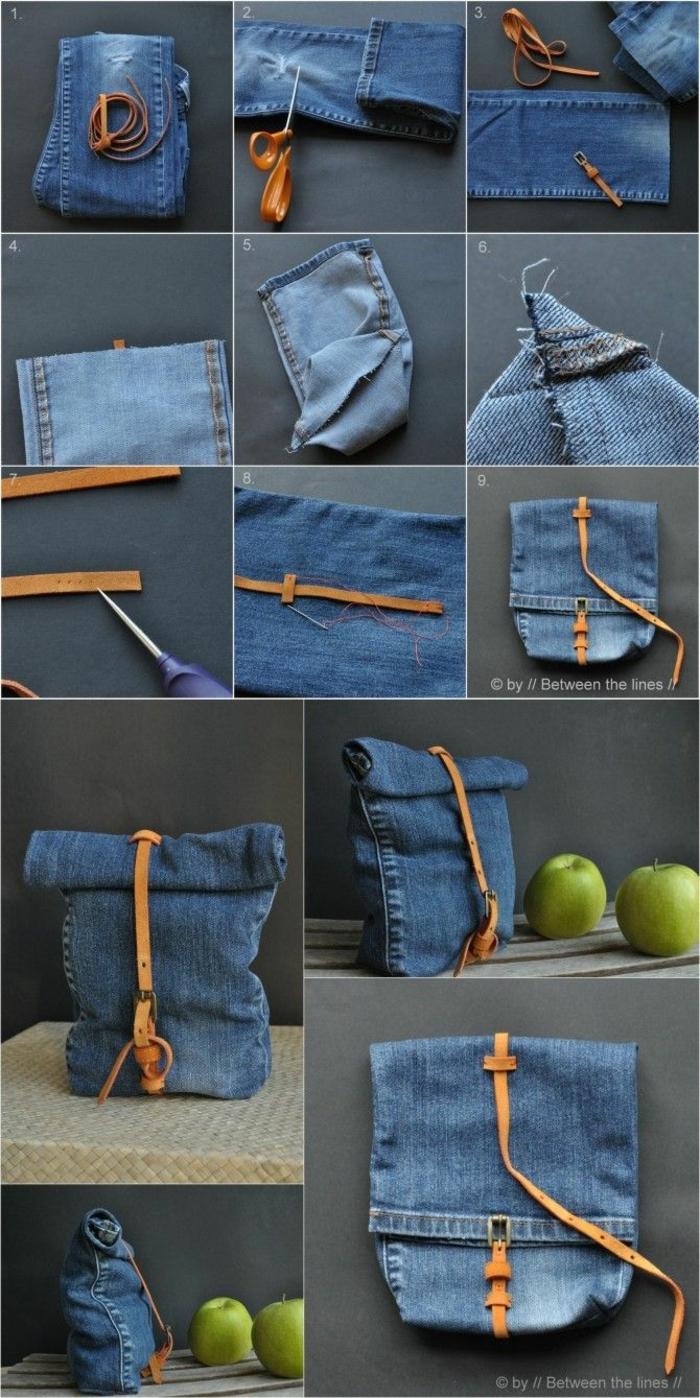 Anweisung zum Selbermachen von Tasche aus alte Jeans, DIY Anleitung, Upcycling Kleidung
