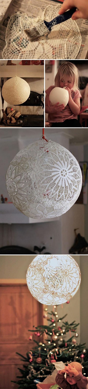 Lampe aus Spitze, Anfertigung mit einem Luftballon, Basteln für Kinder, Upcycling Ideen zum Selbermachen, Weinachtsdekoration
