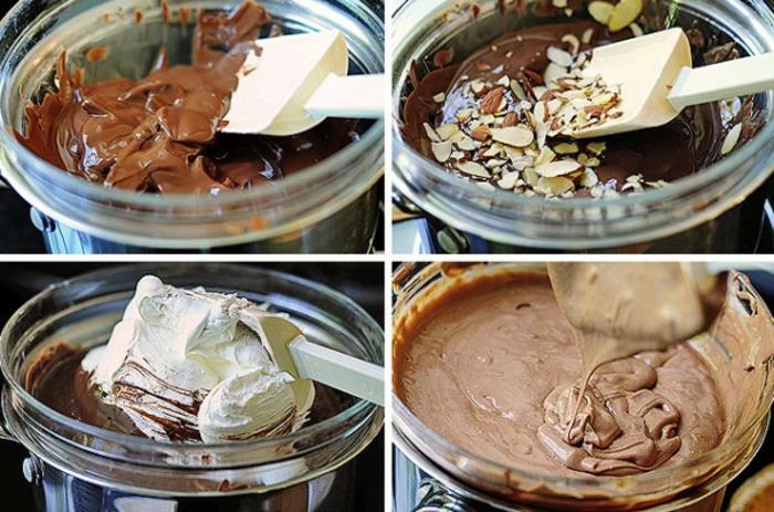 glutenfreier Kuchen - Kuchenmischung mit Schokolade, Sahne und Mandeln in einer Rührschüssel aus Glas
