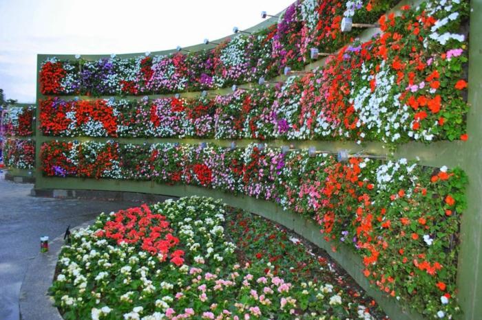 vertikal Garten mit vielen verschiedene Arten von Blumen an gerundeter Wand