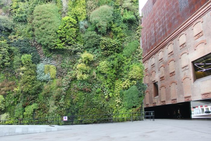 vertikale Begrünung sieht schön neben die nackte Wände anderer Gebäude
