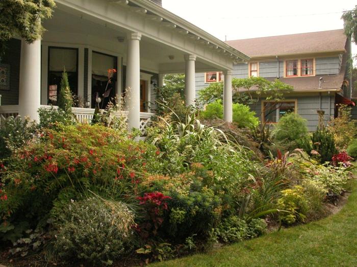 Veranda mit vielen Pflanzen hohe Blumen - Vorgartengestaltung Ideen