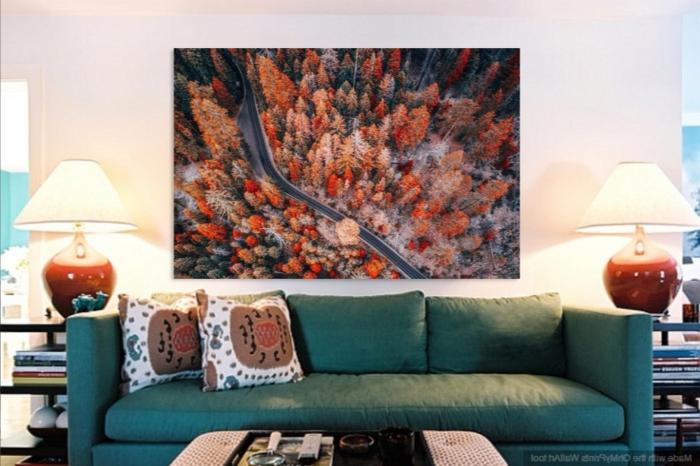 dekoration für das wohnzimmer in farben der natur wandbild wald herbst bilder grün orange rot