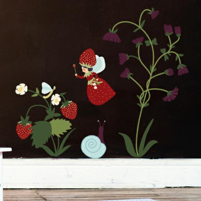 die kleine fee der erdbeeren blumen magische welt märchen wandmotive wandtattoo