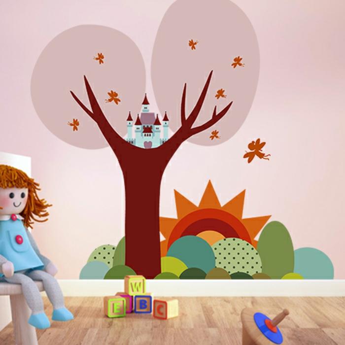 wandtatoo wandmotive schloss auf dem baum puppe spiel spielsachen waldmotive wald märchen