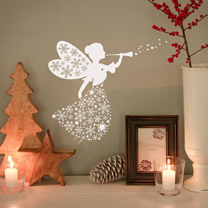 fee spielt musik an der wand weiße fee weihnachten dekoration kinderzimmer idee