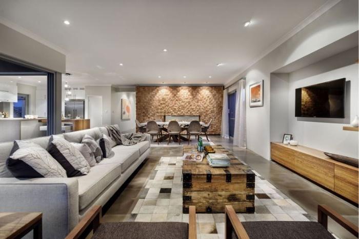wohnzimmer ideen modern in einem robusten minimalistischen stil, braun und grau einrichtungsideen